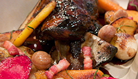 Slow Cooked Lamb Shoulder with Tempranillo, Organic Root Vegetables and Chestnuts