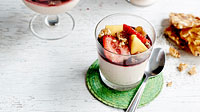 Coconut panna cotta with Napa style strawberry & mango salad