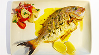 Whole Snapper with Lemon Sauce & Panzanella Salad