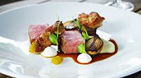 Flinders Island Lamb saddle, sweetbreads, sheeps curd, eggplant, pickled raisins, pearl onions.